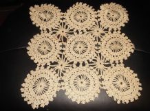 "ANTIQUE BEIGE TABLE PROTECTOR SUPERB CROCHET WORK SILKY YARN IN CIRCLES 13"" SQ"